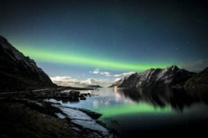 Norway, Mountains, Lofoten, Aurorae, Lake