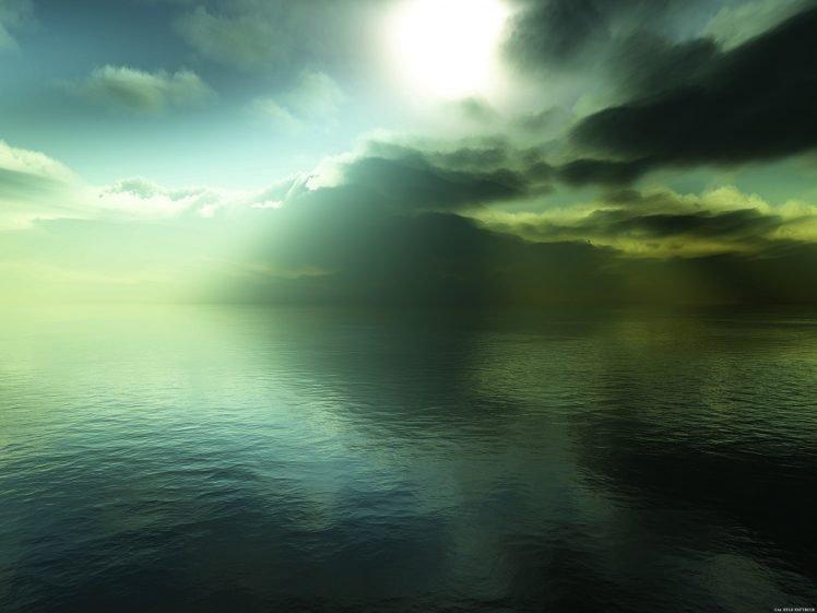 water, Sea, Green, Peace, Relaxing, Clouds, Sunlight, Reflection, Dark HD Wallpaper Desktop Background