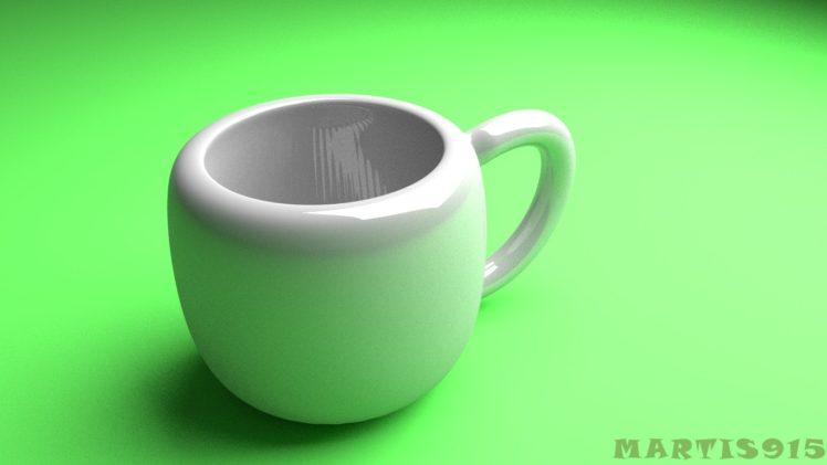 Blender, Cup, Realistic, Green, White HD Wallpaper Desktop Background