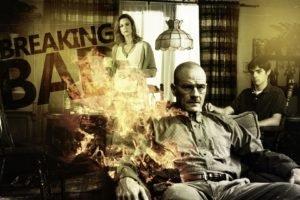 Walter White, Bryan Cranston, Skyler White, Breaking Bad, Fire, Sepia, Living rooms