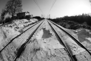 winter, Tracks, Railway, Snow, Black, White, Cold, Sun, Trees, Horizon, Depth of field, Inwardness