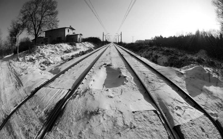 winter, Tracks, Railway, Snow, Black, White, Cold, Sun, Trees, Horizon, Depth of field, Inwardness HD Wallpaper Desktop Background