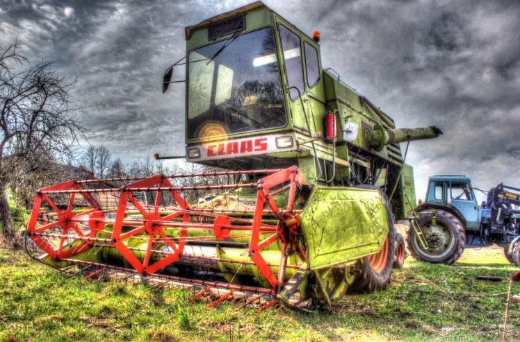 HDR, Tractors, Combine harvesters, Claas HD Wallpaper Desktop Background