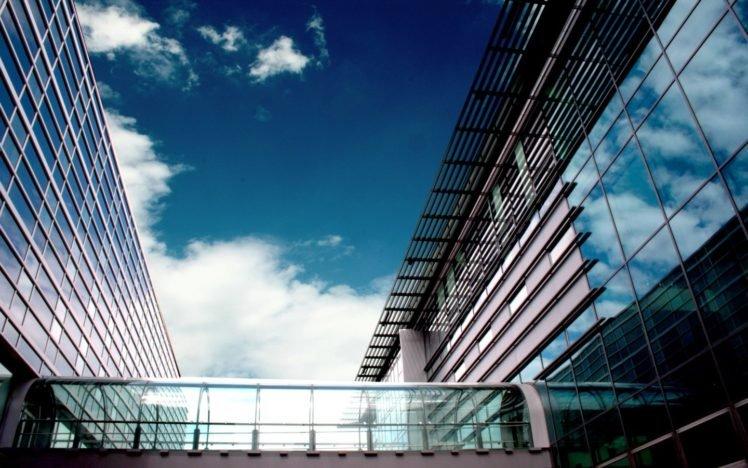 Politechnika Śląska, Gliwice, Architecture, Building, Blue, Clouds, Mirror HD Wallpaper Desktop Background