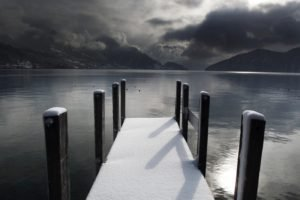 lake, Bridge, Winter, Water, Snow, Hills, Mountains, Mirror, Photography
