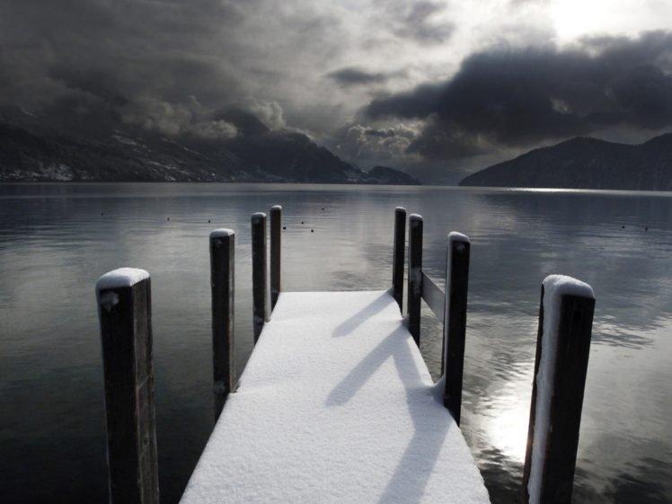lake, Bridge, Winter, Water, Snow, Hills, Mountains, Mirror, Photography HD Wallpaper Desktop Background