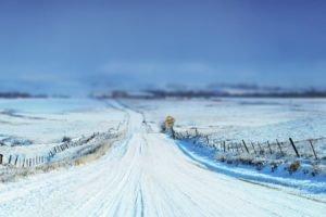 winter, Snow, Horizon, Depth of field, Road, Path