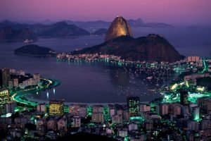 town, Lights, Hills, Water, Coast, Sea, Rio de Janeiro