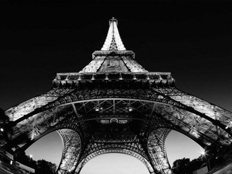 Black White Eiffel Tower Paris France HD Wallpaper Desktop Background