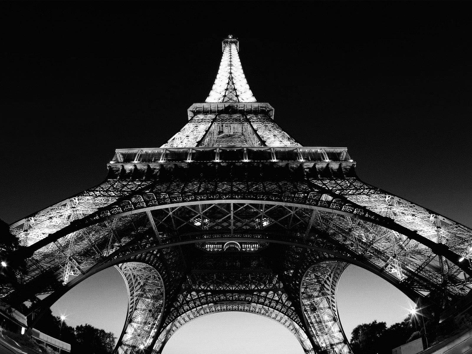 Black White Eiffel Tower Paris France Hd Wallpapers Desktop