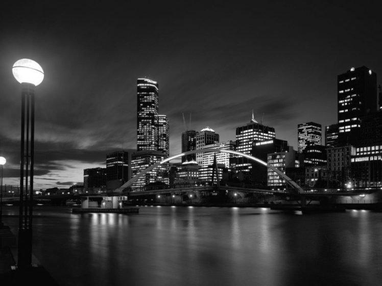 town, Lights, Black, White, Water, River, Reflection HD Wallpaper Desktop Background
