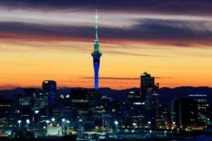 town, Lights, Tower, Horizon