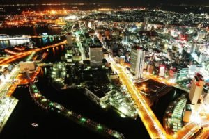 lights, Road, Building, Horizon, Yokohama, Night, Japan, Cityscape