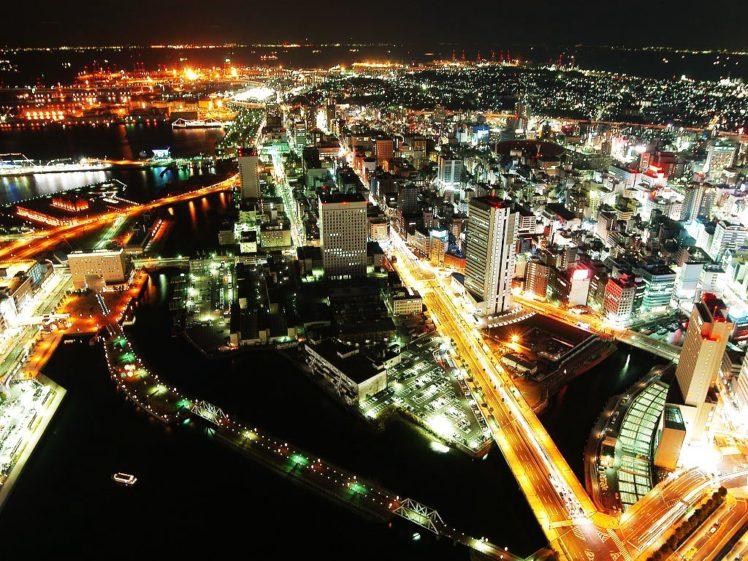 lights, Road, Building, Horizon, Yokohama, Night, Japan, Cityscape HD Wallpaper Desktop Background