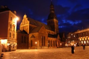 town, Lights, Architecture, Church