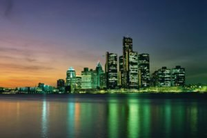 town, Water, Lights, Reflection, Building, Detroit, Cityscape