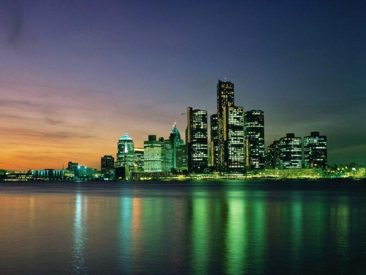 town, Water, Lights, Reflection, Building, Detroit, Cityscape HD Wallpaper Desktop Background