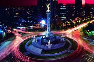 town, Lights, Road, Long exposure, Building, Statue, Roundabouts, Light trails, Mexico