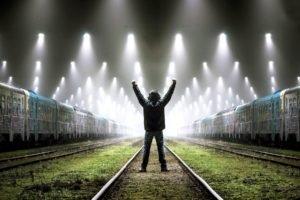 men, Train station, Railway