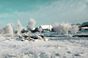 winter, Russia, Snow, House, Trees