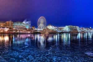 cityscape, Night, Lake, Chicago, Pier