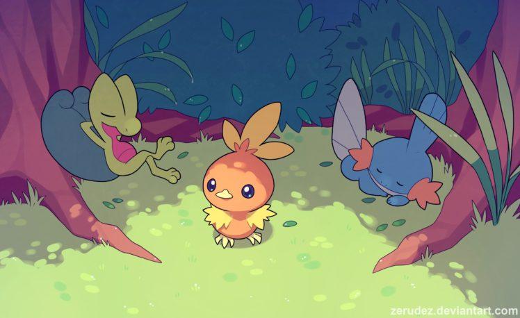 Torchic, Pokémon, Treecko, Mudkip HD Wallpaper Desktop Background
