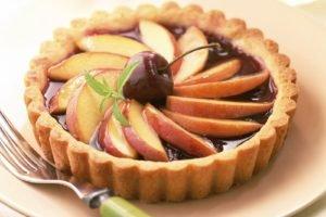 food, Dessert, Cherries (food), Cake, Fork