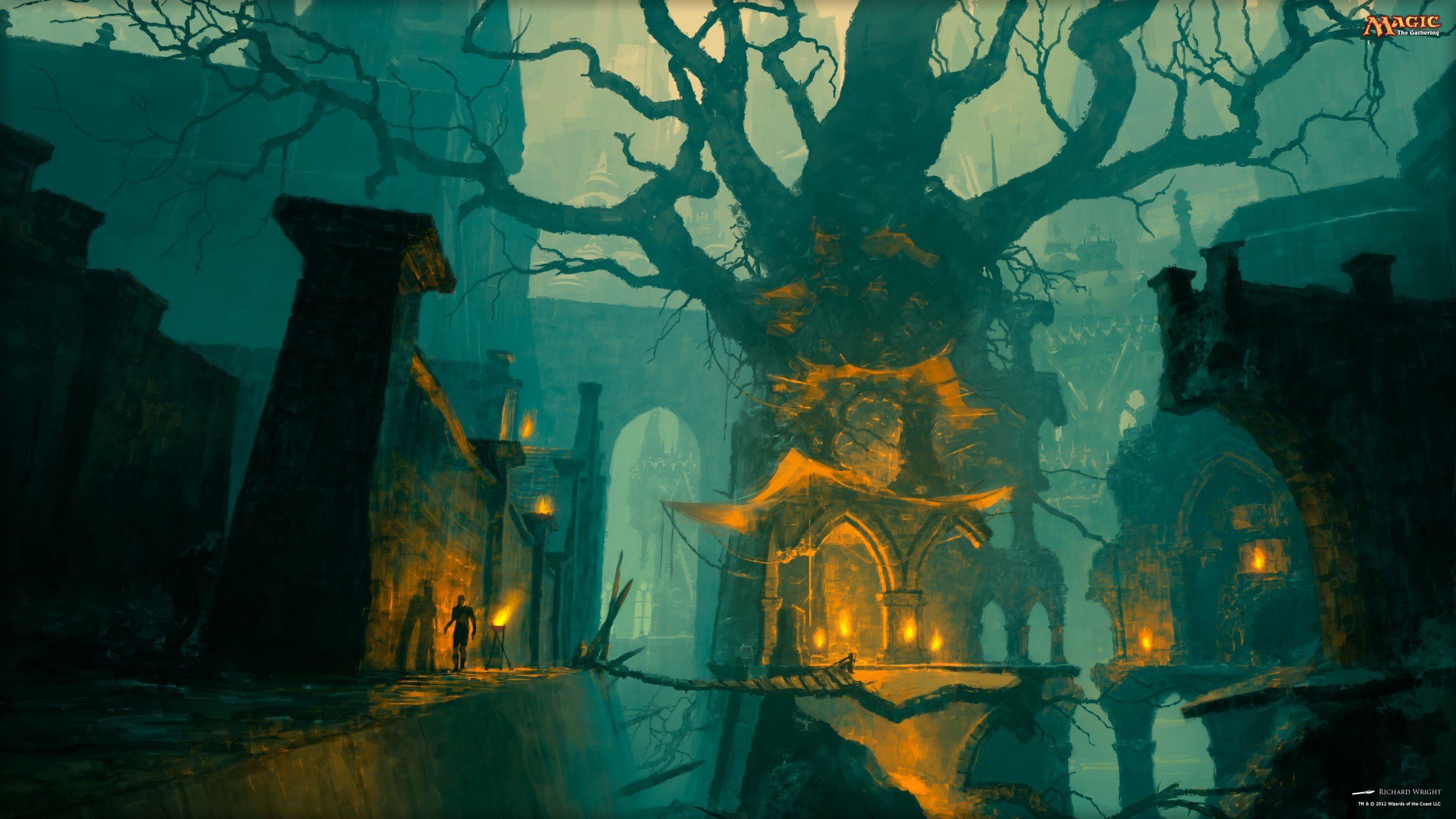 Magic The Gathering Magic Gruul Bridge Trees Hd Wallpapers