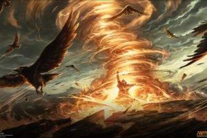 wizard, Magic: The Gathering, Magic, Fire, Birds, Tornado