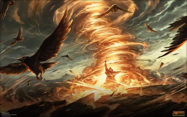 wizard, Magic: The Gathering, Magic, Fire, Birds, Tornado HD Wallpaper Desktop Background