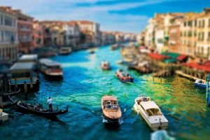 cityscape, Venice, Tilt shift, Building, Boat, Blurred