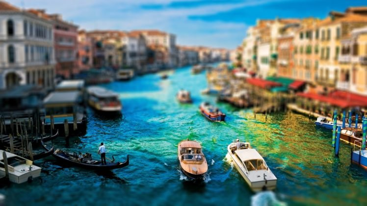 cityscape, Venice, Tilt shift, Building, Boat, Blurred HD Wallpaper Desktop Background