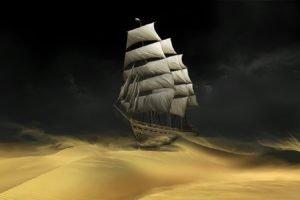 ship, Desert, Sand