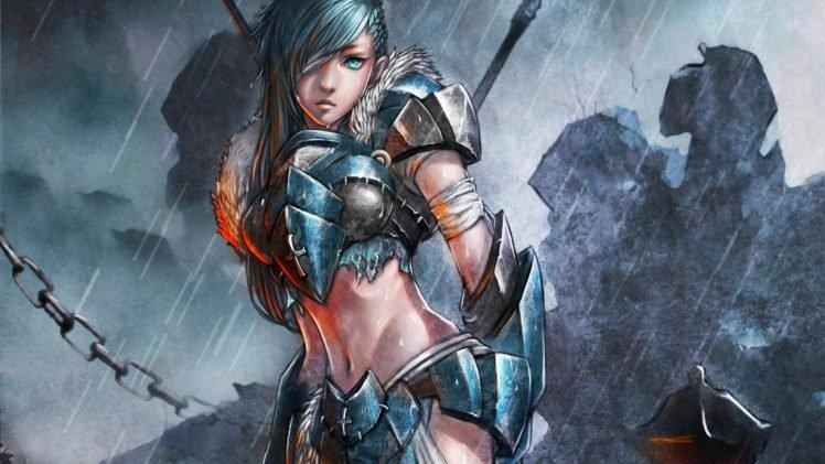 warrior, Anime girls, Anime HD Wallpaper Desktop Background