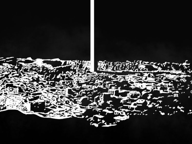 drawing, Monochrome, Apocalyptic, Cityscape, Monolith HD Wallpaper Desktop Background