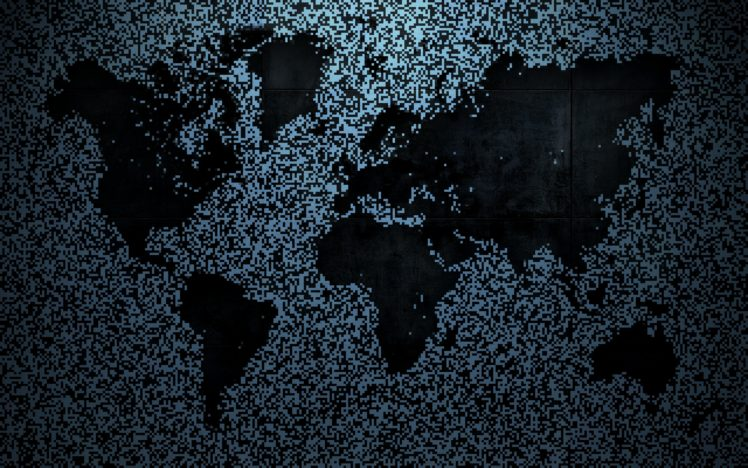 pixelated, World map, Map, Metal, Noisy HD Wallpapers ...