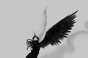 angel, Black, White, Wings
