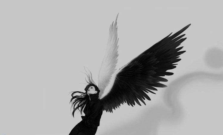 Angel Black White Wings Hd Wallpapers Desktop And