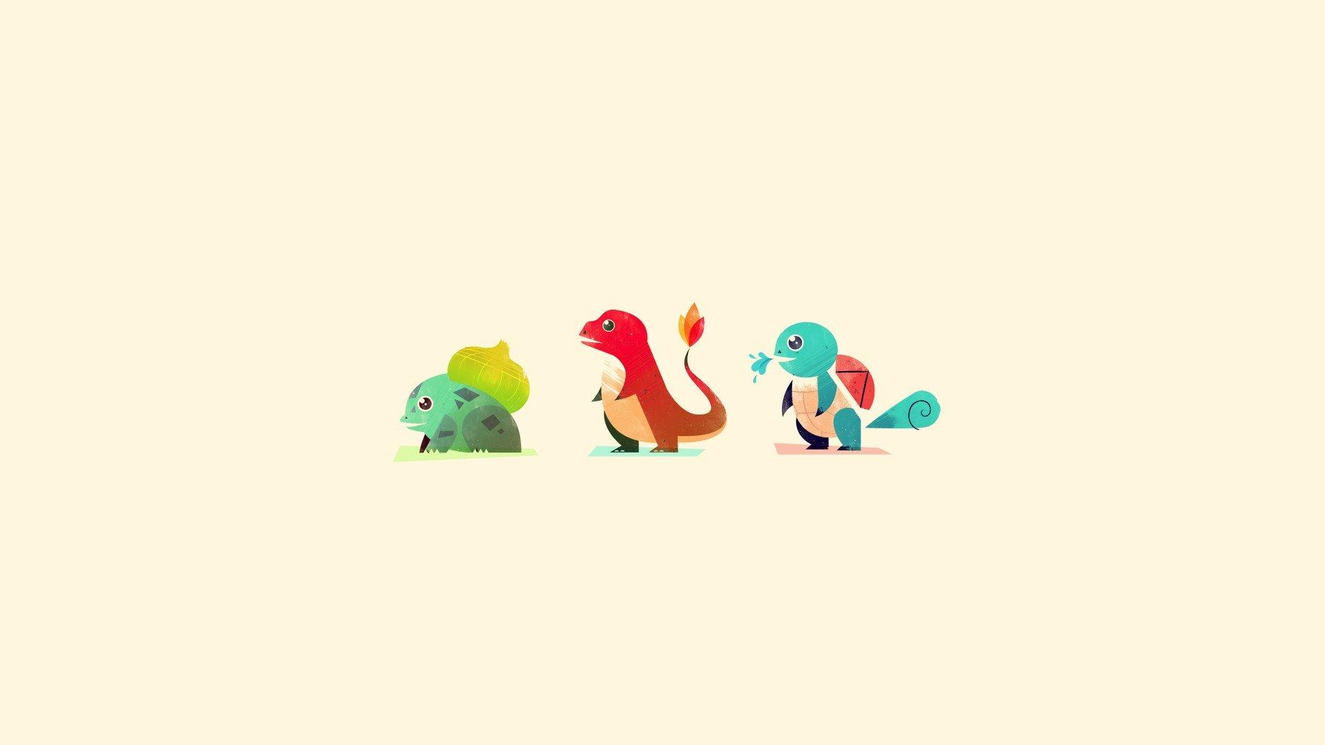 Pokemon, Bulbasaur, Charmander, Squirtle, Minimalism HD