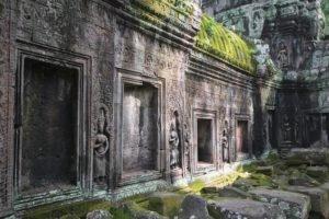 Siem Reap, Angkor Wat, Hinduism, Lights, Statue, Gray, Green, Ancient