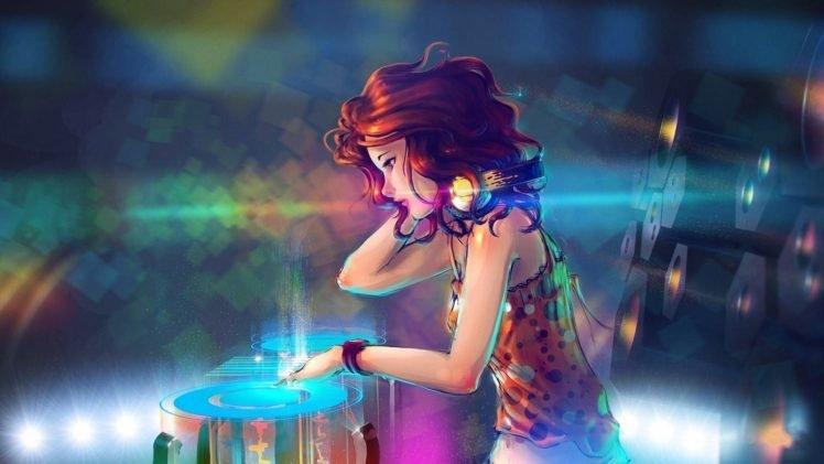 anime girls, Anime, Disc jockey, Redhead HD Wallpaper Desktop Background
