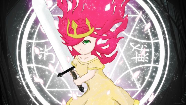Child of Light, Aurora, Anime girls, Lights, Sword HD Wallpaper Desktop Background