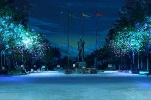 ArseniXC, Everlasting Summer, Night, Trees, Statue, Flag, Bench