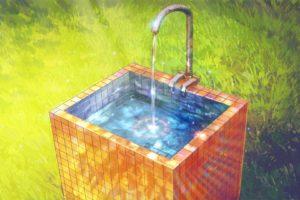 Everlasting Summer, Drinking fountains, Rainbows, Green, Tiles, Water, ArseniXC
