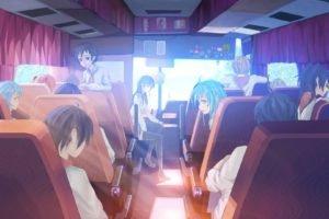 schoolgirls, Schoolboys, Buses, Sunlight, Everlasting Summer, Sun rays