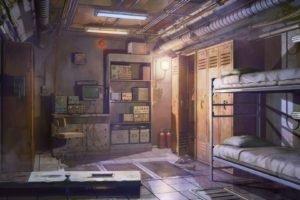 bed, Door, Lockers, Tiles, Everlasting Summer, Vents