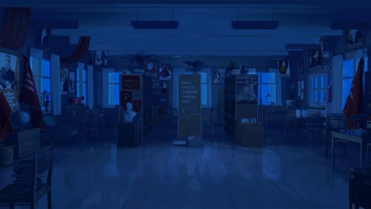 night, Library, Everlasting Summer, Chair, Literature, ArseniXC HD Wallpaper Desktop Background