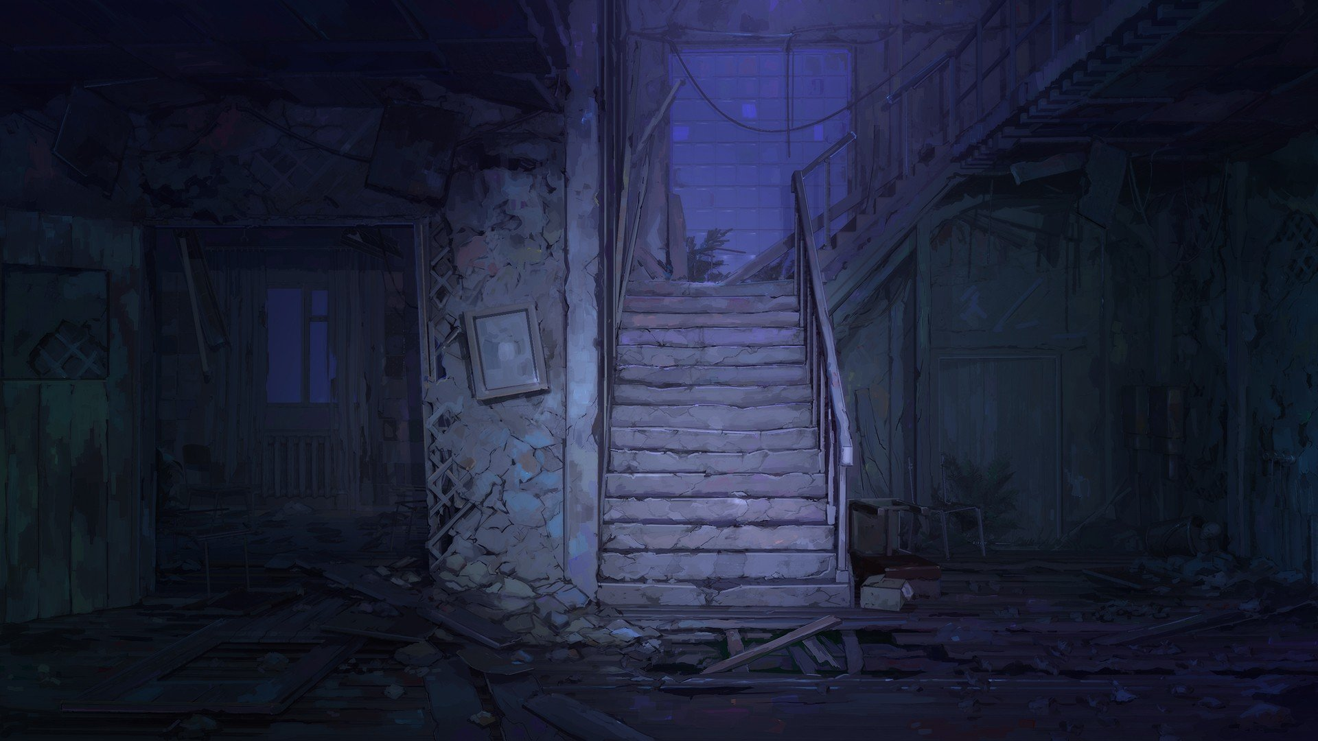 ночь, лестница, здание без регистрации