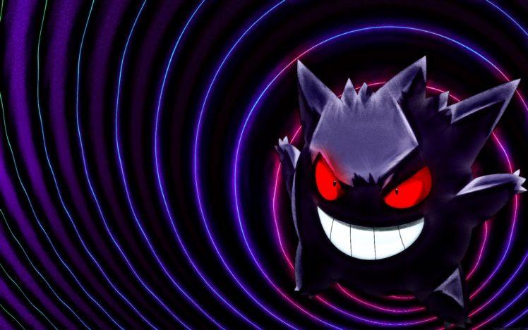 Pokemon, Black, Gengar, Purple, Ghost HD Wallpaper Desktop Background
