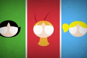 Powerpuff Girls, Buttercup, Bubbles, Blossom, Blo0p, Panels, Minimalism